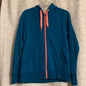 Deep teal and coral zipper hoodie